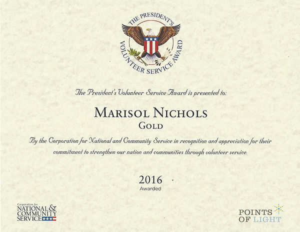 The President's distinguished Volunteer Service Award